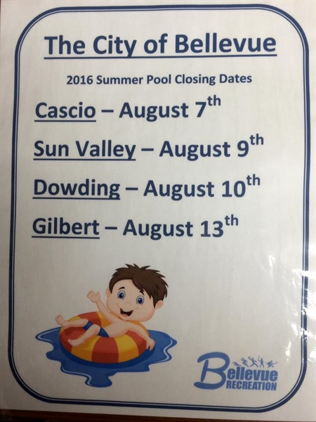 Bellevue Recreation Department Announces 2016 Summer Pool Closing Dates