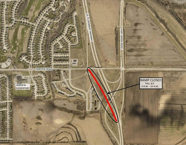 The Fairview Road Entrance Ramp to Southbound US-75 Temporary Closing on Friday, August 4th for Paving*** (Note Date Change)