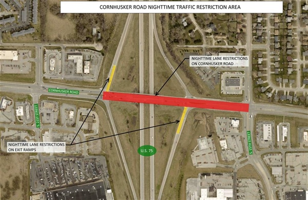 Bellevue Public Works Announces Nighttime Work will begin on Cornhusker Road the Evening of Wednesday, June 6th