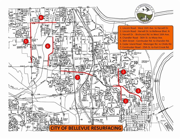 City of Bellevue's 2018 Road Resurfacing Program to Begin on Monday, July 30th