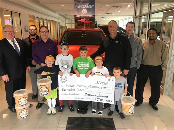 Beardmore Chevrolet Presents the Bellevue Recreation Department a Donation Towards Youth Baseball/Softball
