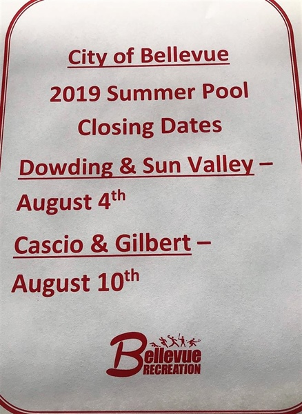 Bellevue Recreation Department Announces Closing Dates for Bellevue Public Pools