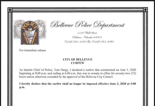 Bellevue Police Chief Tom Dargy Lifts Citywide Curfew Effective at 5PM on Tuesday, June 2, 2020