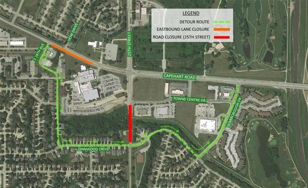 Bellevue Public Works Department Announces Temporary Closure of Eastbound Lanes of Capehart Road between 28th Avenue and 25th Street